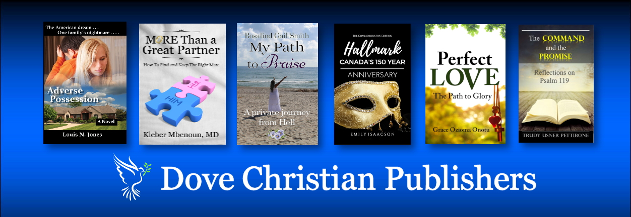 Banner Image for Dove Christian Publishers, showing featured Christian books and our company title and logo
